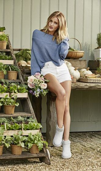 shorts sweater rosie huntington-whiteley ankle boots shoes spring outfits