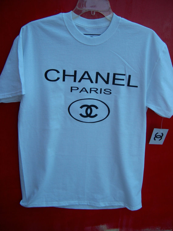 Chanel paris white tshirt by daliaskloset on etsy