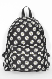 bag,backpack,flowers,daisy,school bag,daisy backpack,flower backpack,floral,black,floral backpack