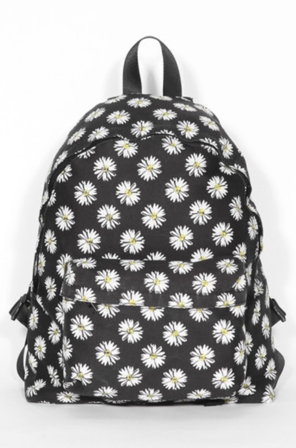 bag backpack flowers daisy school bag daisy backpack flower backpack daisy floral black floral backpack