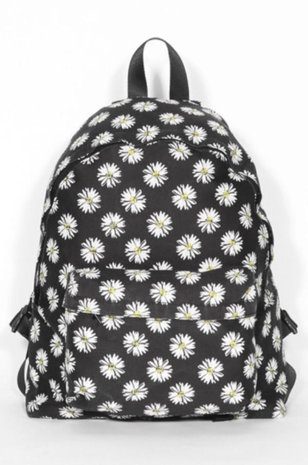 bag backpack flowers daisy school bag daisy backpack flower backpack daisy floral black floral backpack