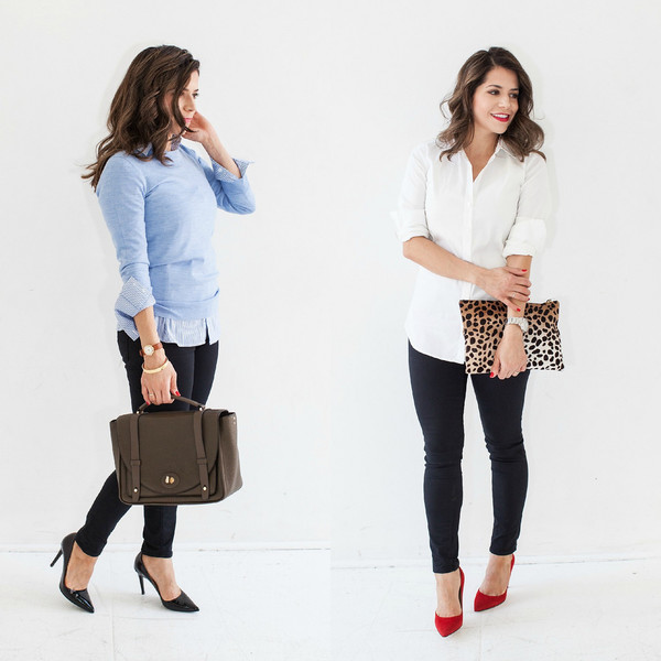 the corporate catwalk blogger jeans office outfits white shirt shirt sweater shoes bag jewels