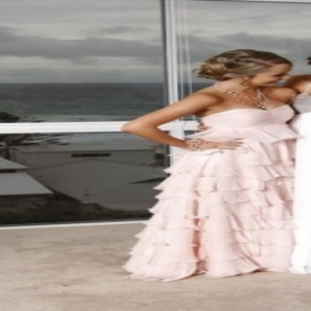 pink dress long prom ruffled