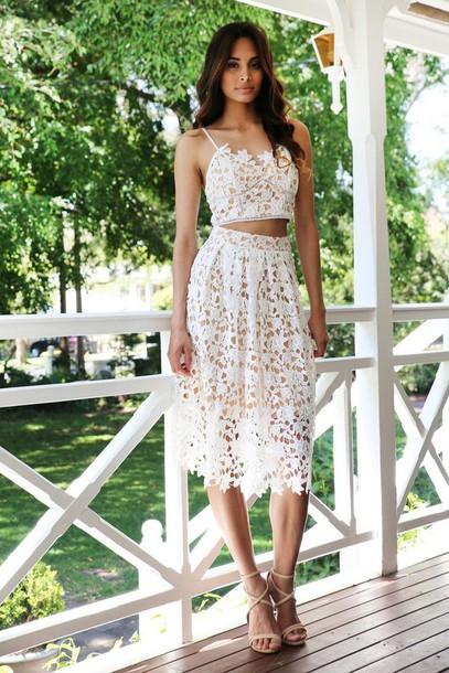 4e8e27058 skirt, white, lace, midi skirt, nude underlay - Wheretoget