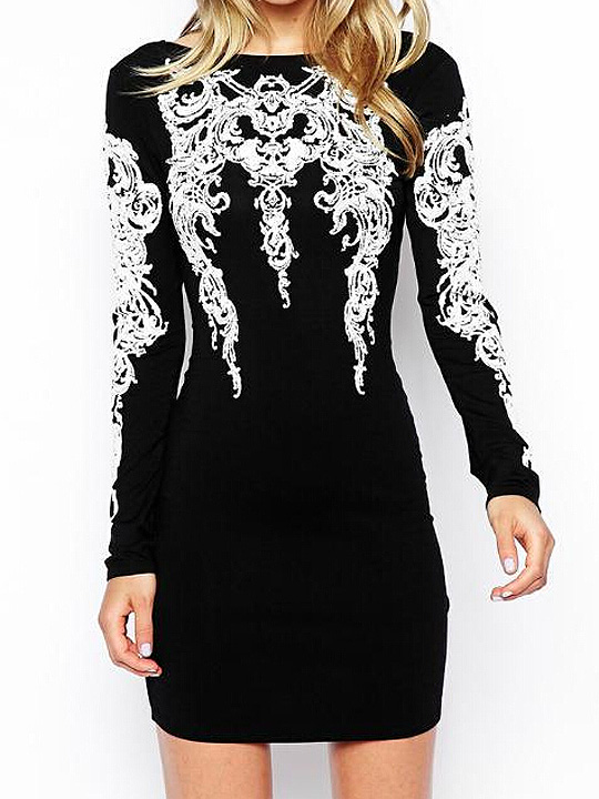 White printed black boat neck backless long sleeve bodycon dress