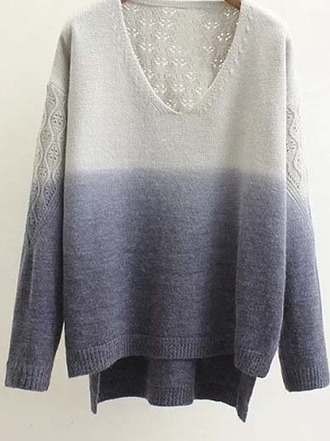 sweater girl girly girly wishlist v neck blue floral tie dye ombre deep v neck sweater colorblock
