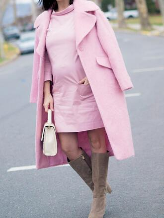 coat pink winter outfit pink coat dress pink dress mini dress maternity maternity dress boots beige knee high boots winter outfits winter coat winter look