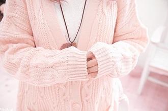 cardigan chunky cardigan pastel pink light pink pink knit