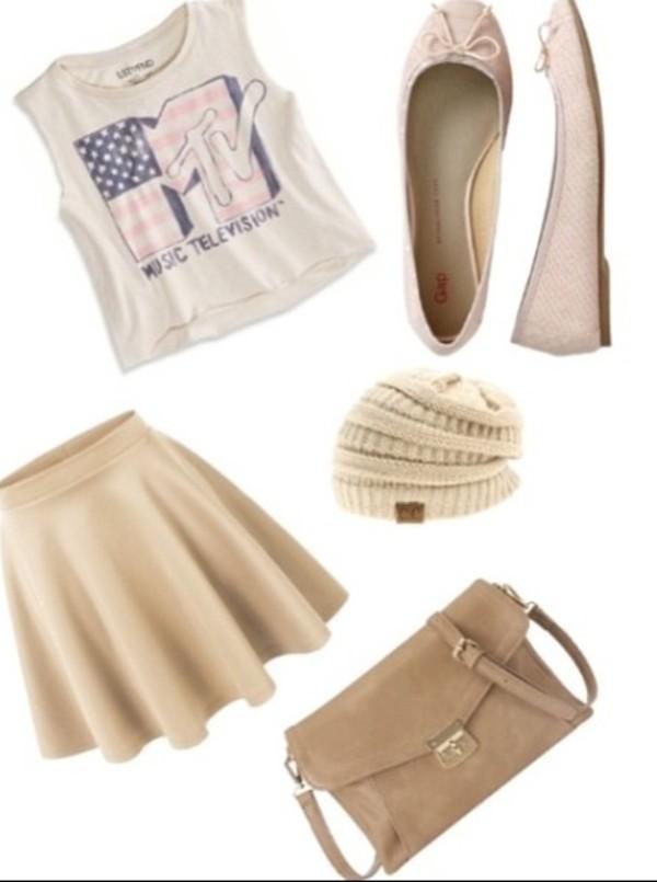 tank top high waist skirts mtv skirt t-shirt crop tops bag
