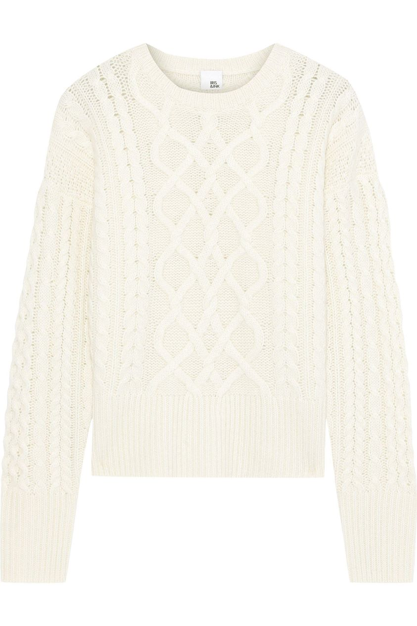 Iris & Ink Woman Iona Cable-knit Cashmere Sweater Ivory Size M
