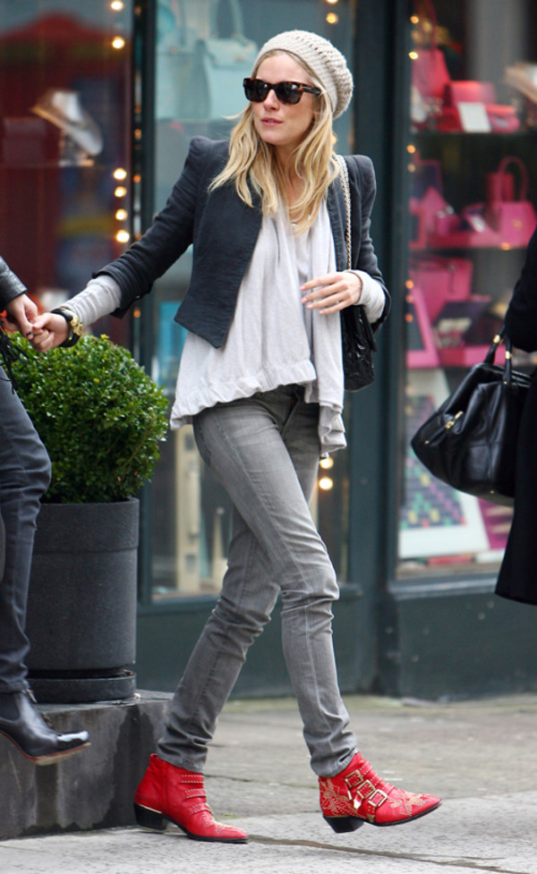 leather red buckles straps low boots boots cow boy sienna miller red shoes shoes