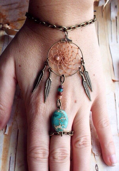 jewels bracelets dream catcher teal boho