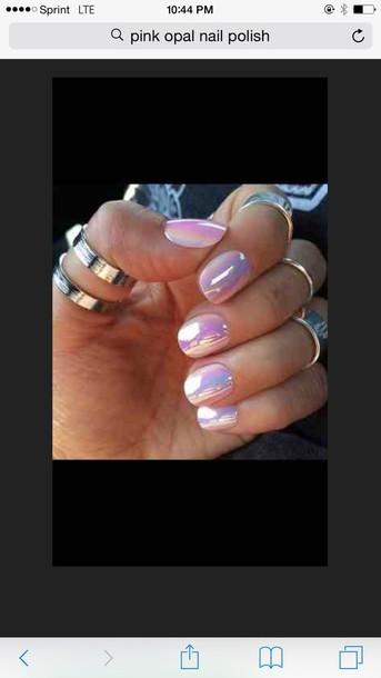 nail polish pink mirror polish