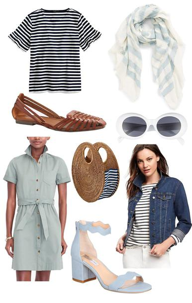 thecollegeprepster blogger t-shirt scarf shoes sunglasses dress bag jacket spring outfits sandals denim jacket striped top flats