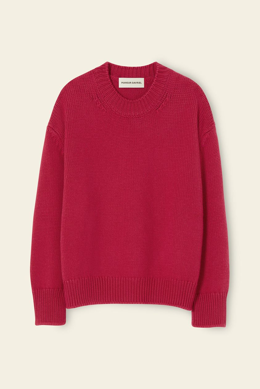 Wool Oversized Crewneck - Fuchsia