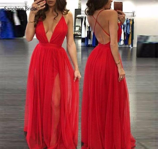 78d798ebcf dress red long evening dress deep v side split slit daring tulle skirt  burgundy v neck
