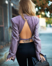 jacket,classy,open back,top,backless top,backless,lilac top,long sleeves,tattoo,pants,black pants,sexy,bag,black bag