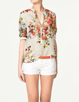 blouse floral shirt fashion multicolor white shirt