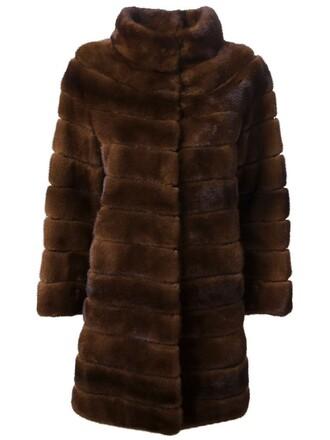 coat fur women brown