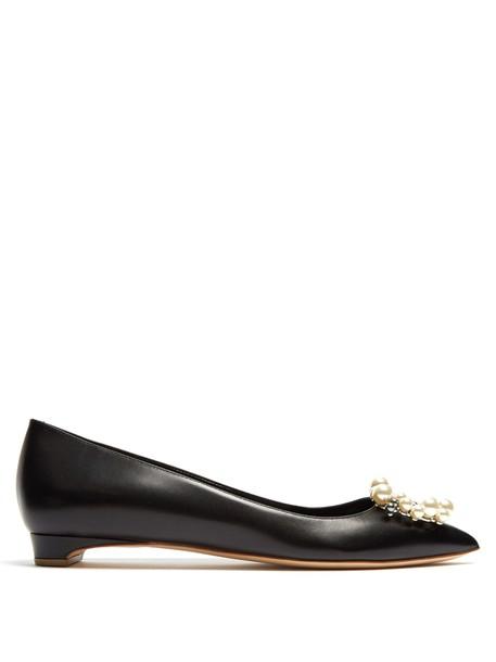 Rupert Sanderson embellished flats leather flats leather black shoes
