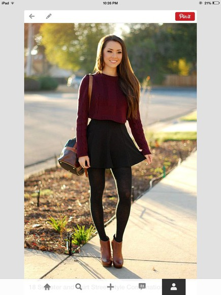 red sweater skirt black skirt
