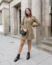 dress,mini dress,olive green,long sleeve dress,button up,v neck dress,ankle boots,black boots,shoulder bag,black bag,mini bag,zara
