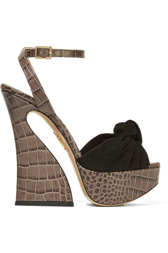 sandals platform sandals leather suede dark shoes