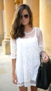 dress,sheer,lace,mesh,white dress,see through dress