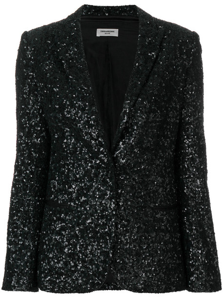 blazer women cotton black silk sequins jacket