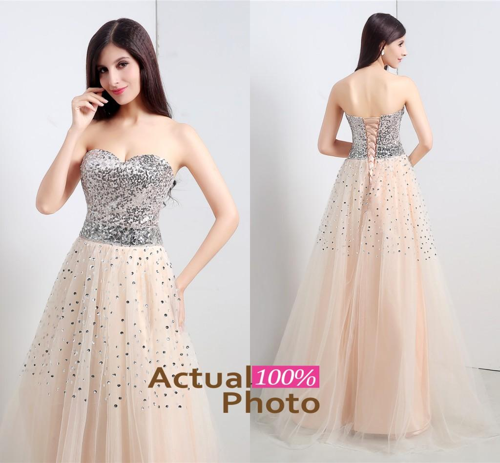 Real sample champagne a line bling sequins long prom dresses sweetheart floor length tulle sleeveless formal evening gowns in stock 2015 online with $65.52/piece on wheretoget's store