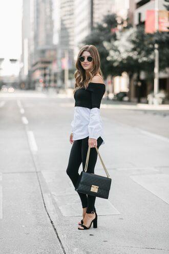 ashlee frazier blogger shirt pants shoes bag sunglasses top sandals black bag