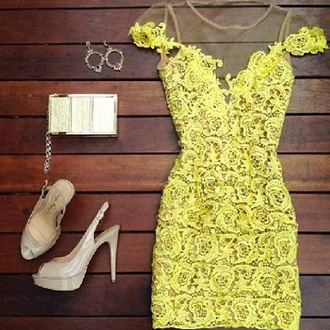 dress neon dress neon yellow laces lace dress neon yellow