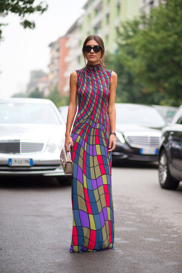 dress streetstyle fashion week 2014 maxi dress geometric