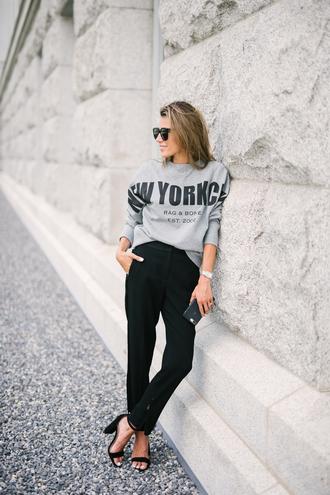 top black pants tumblr sweatshirt pants sandals sandal heels high heel sandals sunglasses
