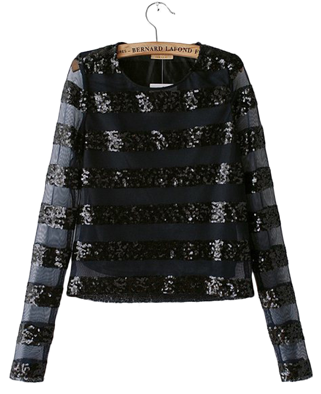 Sequined & Striped Long-sleeved Pullover Shirt | BlackFive