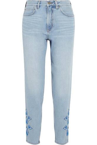 jeans denim embroidered cropped high light