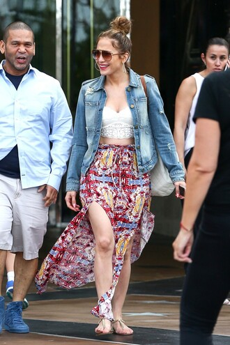 skirt slit skirt colorful spring spring outfits jacket denim jacket summer outfits maxi skirt jennifer lopez top crop tops lace top slit maxi skirt