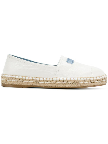 Prada women espadrilles leather white shoes