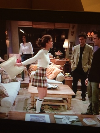 checkers shirt white skirt rachel green pleated skirt friends tv show