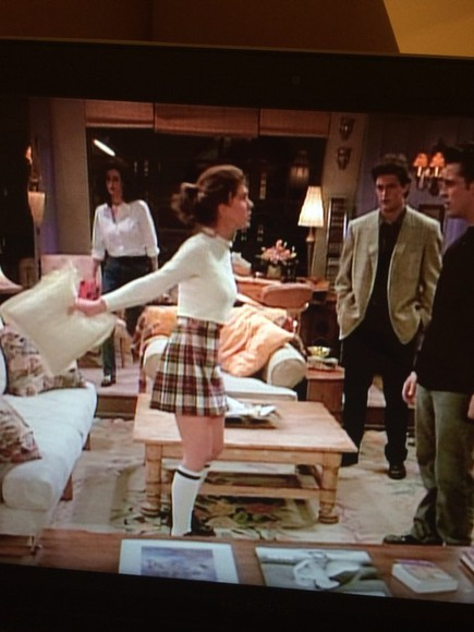 friends shirt rachel green white skirt checkers pleated skirt