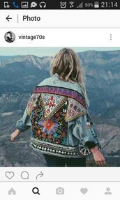 jacket,denim,jakcet denim,jeans,veste,veste en jean,motifs,broided,brodered,amerindian,indian,color/pattern,colorful,vitange,indie,boho,gypsy,gipsy style,embroidered