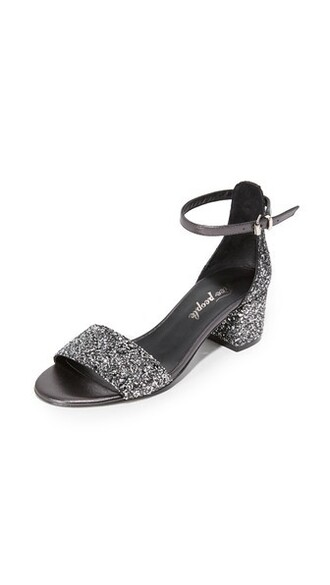 heel glitter sandals black shoes