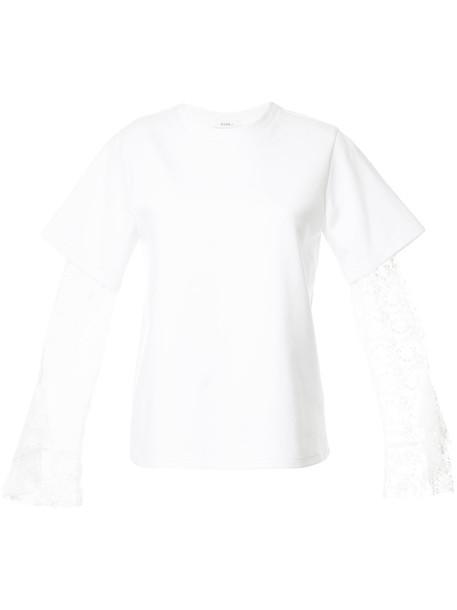 GOEN.J t-shirt shirt t-shirt long women layered lace white cotton top