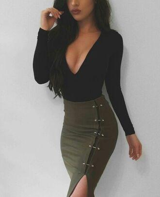 skirt olive green skirt olive green v neck shirt long sleeve shirt cute outfits black black shirt