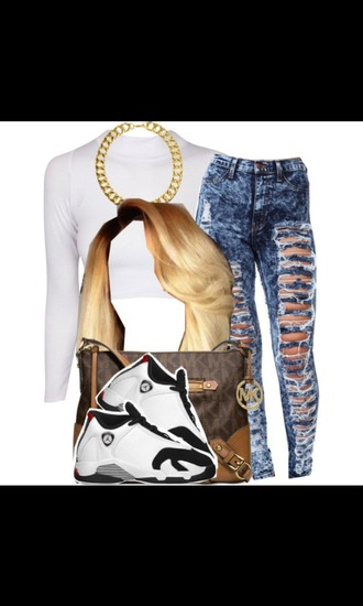 top polyvore white top gold chain ripped jeans white crop tops crop michael kors bag michael kors messenger bag asos jordans sneakers hair blonde hair outfit