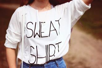 sweater sweatshirt white black fashion style top shirt stylemoi streetstyle girls outfit