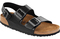 Milano soft footbed black amalfi leather sandals