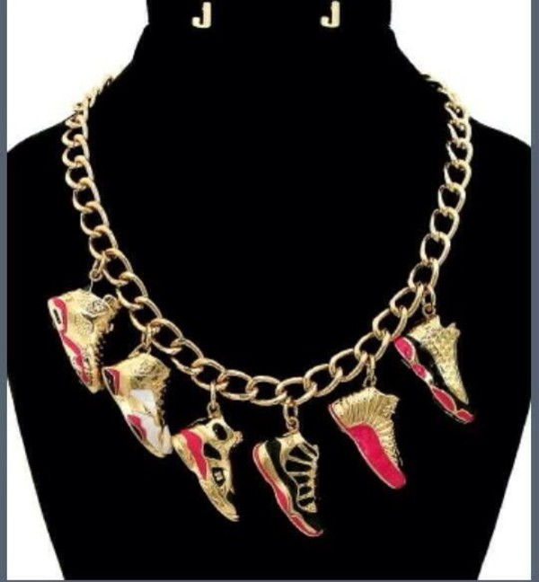 jewels gold chain necklace jordans jumpsuit