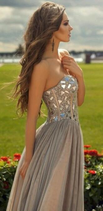 dress prom dress long prom dress grey dress