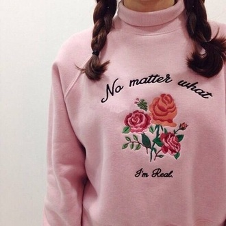sweater pastel pink pastel roses pink cute cozy kawaii fashion fall outfits style winter outfits rose flowers turtleneck girly